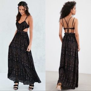 NWT Ecote Hannah Strappy-Back Maxi Dress